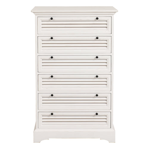 Riviera 6 Drawer Tallboy Chest - White