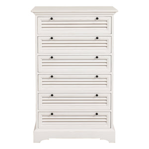 Riviera 6 Drawer Tallboy Chest - White Furniture nz