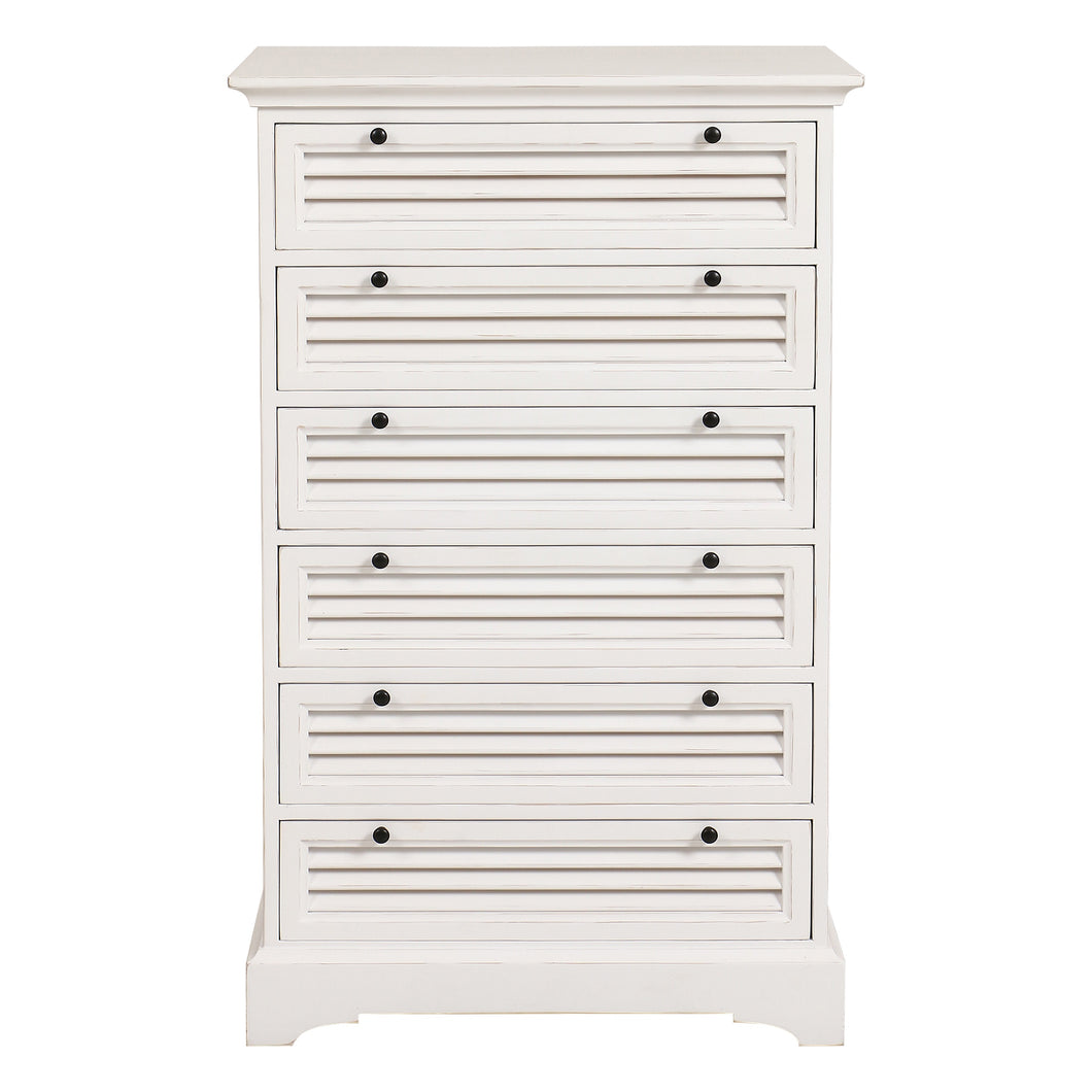 Riviera 6 Drawer Tallboy Chest - White - The French Villa