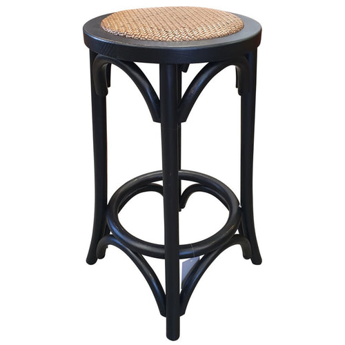 Panama Round Rattan Seated Barstool - Black  Furniture nz