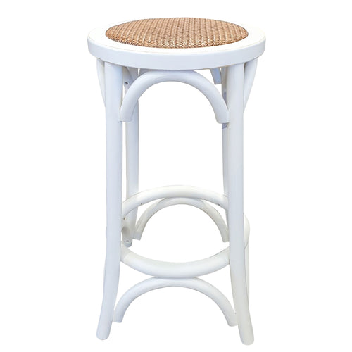 Panama Round Rattan Seated Barstool - White  Furniture nz