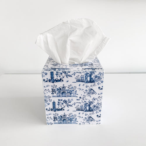 Square Wooden Chinoiserie Tissue Box - Blue & White Homewares nz
