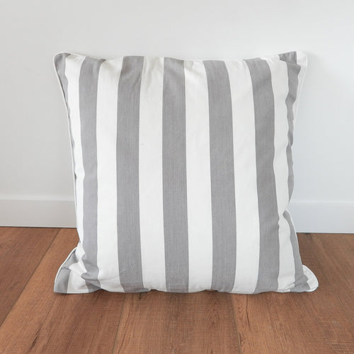 Amalfi Cushion 60x60cm European - Grey & White Stripe  Homewares nz