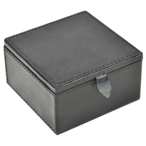 Square Leather Travel Jewellery Box - Black