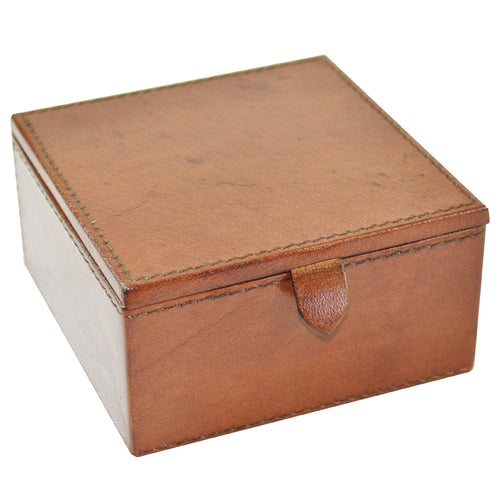 Square Leather Travel Jewellery Box - Tan