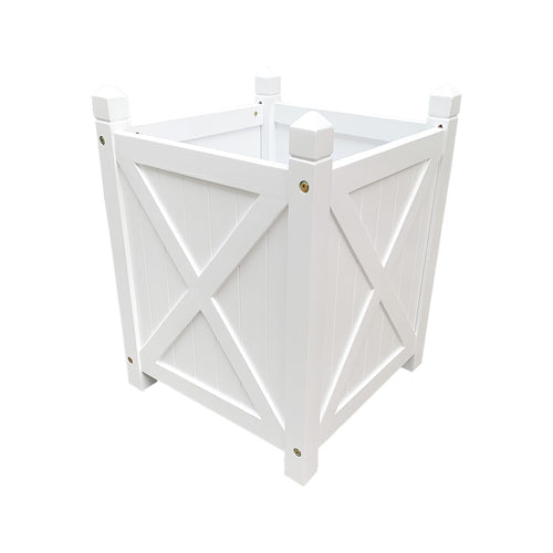 Hamptons Square Wooden Planter Box - White Homewares nz