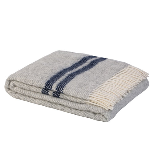 Scalloway NZ Lamb Wool Throw - Grey & Navy  Homewares nz