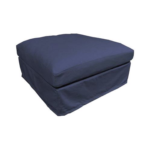 Newport Ottoman - Denim Blue (With Slip Cover)  Furniture nz