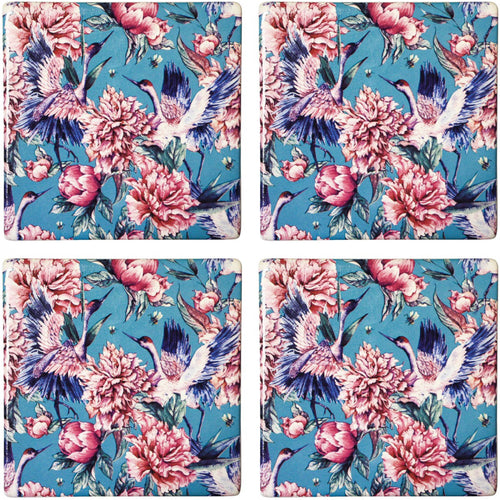 Set Of 4 Crane Bird Peony Coasters