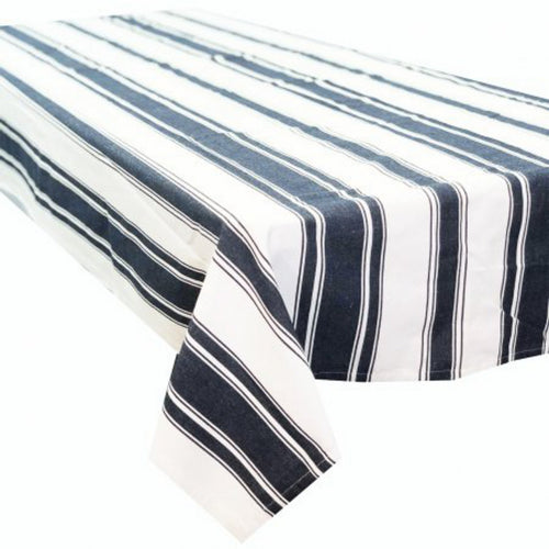 Caribbean Large Rectangle Tablecloth 150x320cm - Navy & White Stripe