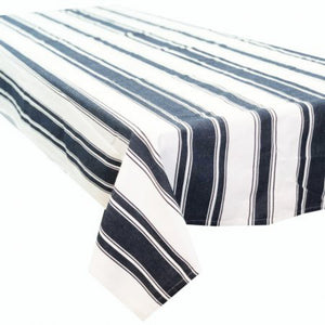 Caribbean Large Rectangle Tablecloth 150x320cm - Navy & White Stripe  Homewares nz