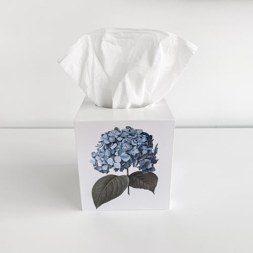 Square Wooden Blue Hydrangea Tissue Box Homewares nz