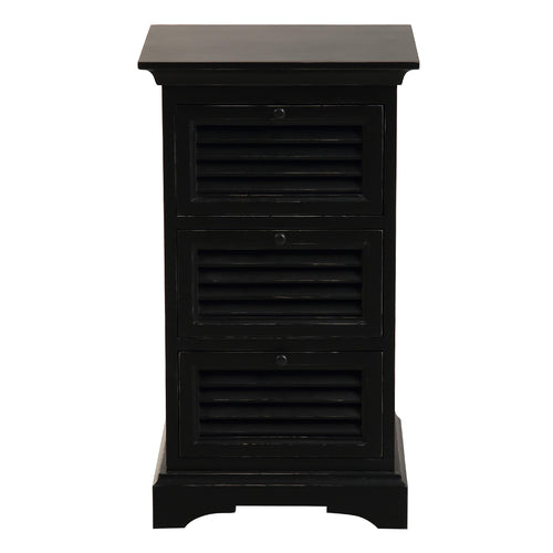 Riviera 3 Drawer Bedside Table - Black Furniture nz