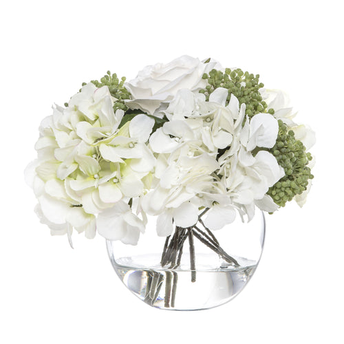 White Rose & Hydrangea Bouquet In Glass 21cm Homewares nz