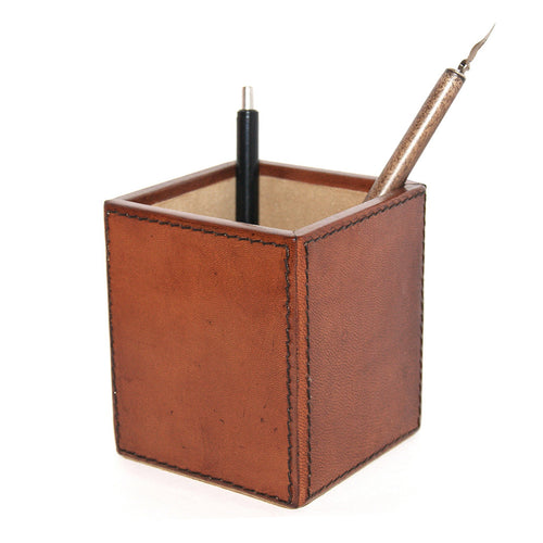 Leather Pen Holder - Tan Homewares nz