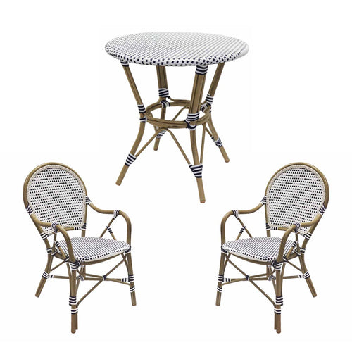 Hamptons Rattan Dining Set - Blue & White