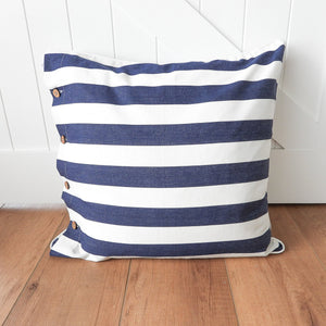Mode European Cushion 60x60cm - Navy & Off-White Stripe  Homewares nz