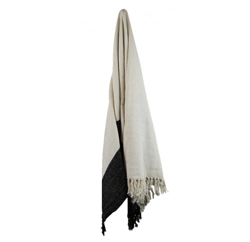 Cotton Throw With Thick Border - Natural  Homewares nz