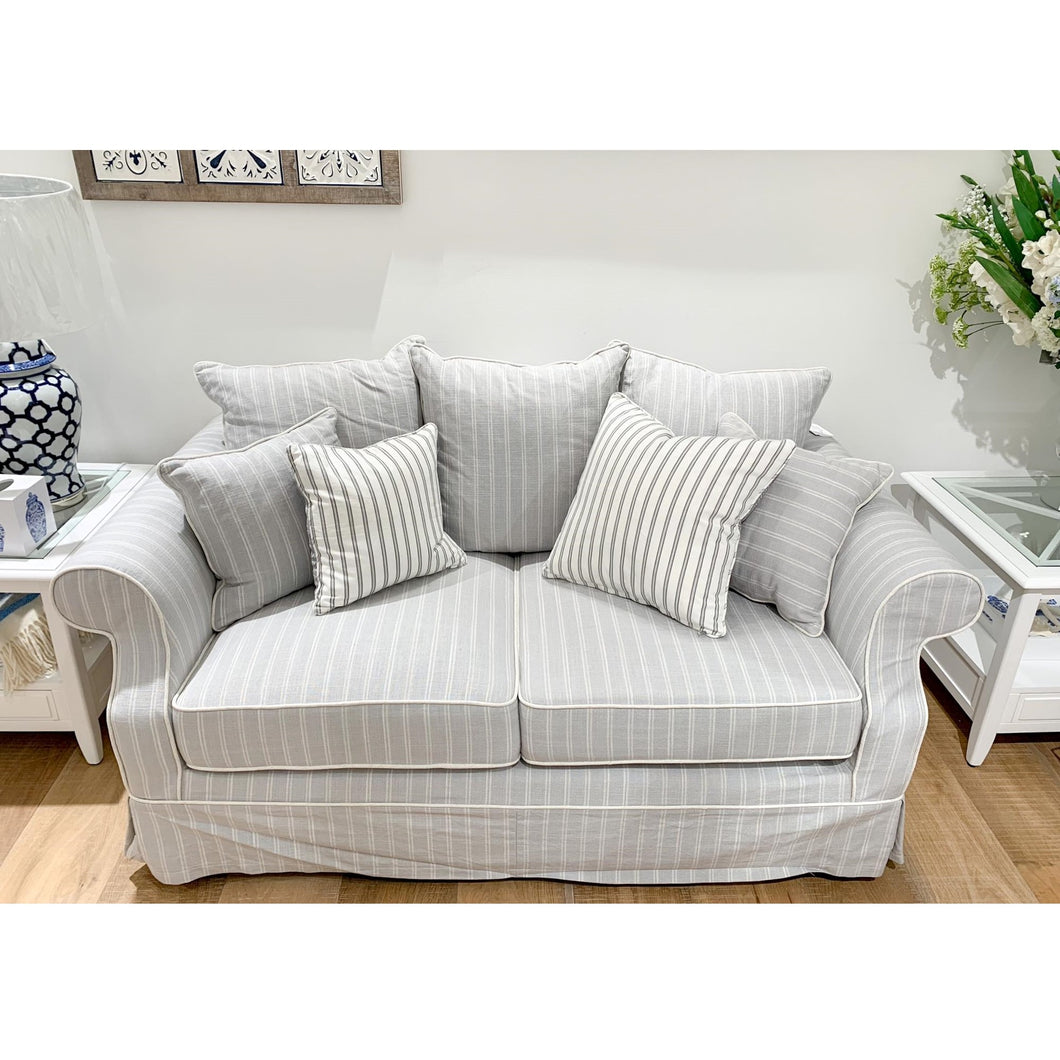 New England 2 Seater Sofa In Grey With Stripes
