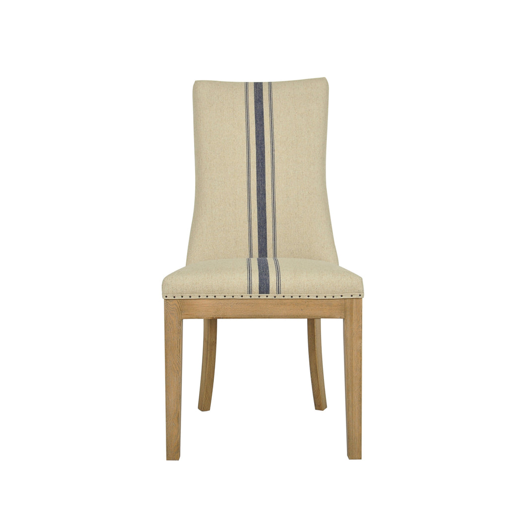 Picture of: Oakwood Linen Dining Chair With Blue Stripe The French Villa