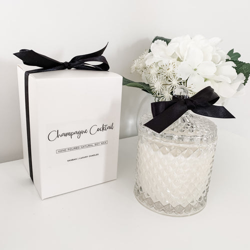 Champagne Cocktail Candle In Ornate Glass Jar 330g  Homewares nz