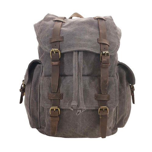 Shepherd Canvas & Leather Travel Rucksack - Grey