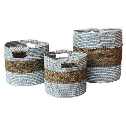 Round Rafia & Seagrass Basket - Large  Homewares nz