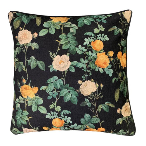 Floral Vine Cushion 50x50cm - Black
