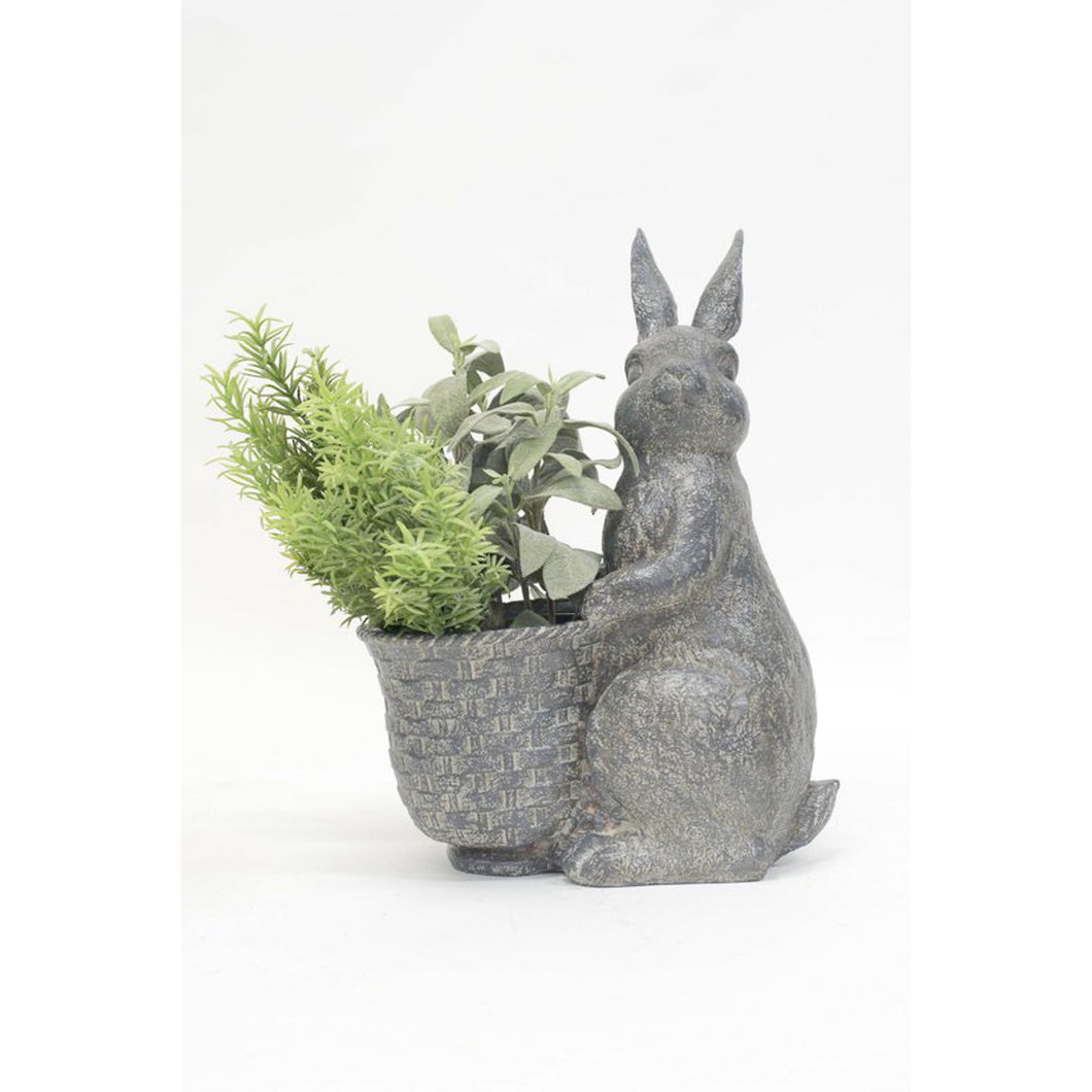 Grey Resin Rabbit With Flower Pot Homewares nz