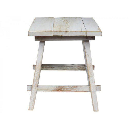 White Washed Square Stool