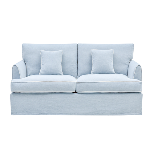 Palm Beach 3 Seater Sofa In Pale Blue With White Piping Furniture nz