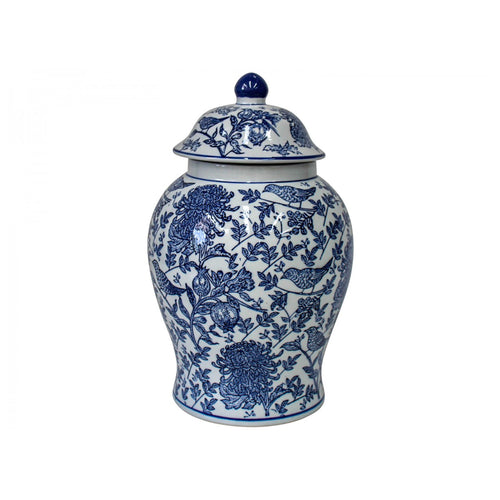 Classic Blue Bird Ginger Jar 35cm  Homewares nz