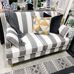 Hamptons 2 Seater Sofa In Grey & Off-White Stripe (Fitted)  Furniture nz