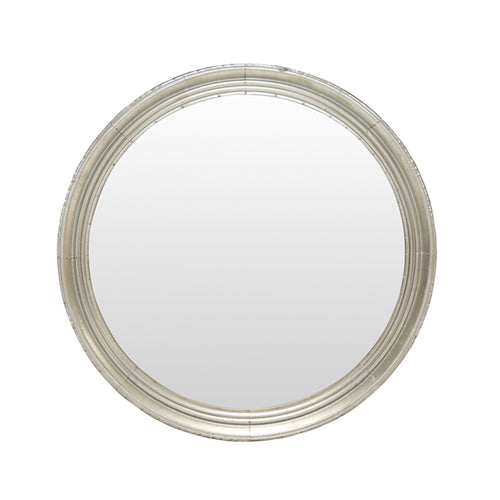 Round Silver Rimmed Iron Mirror 90cm  Homewares nz