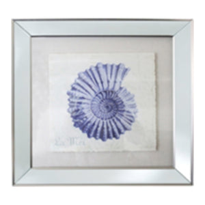Spiral Shell In Mirrored Frame - Blue  Homewares nz