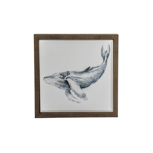 Whale Print In Natural Frame