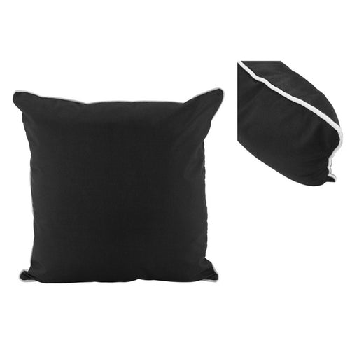 Black Outdoor Cushion With White Piping 50x50cm Homewares nz