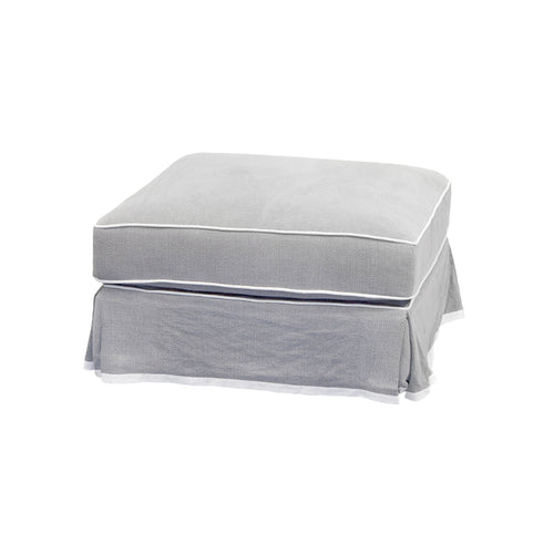 Cape Cod Ottoman In Grey With White Piping (With Slip Cover)