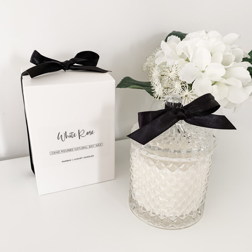 White Rose In Ornate Glass Jar 330g  Homewares nz