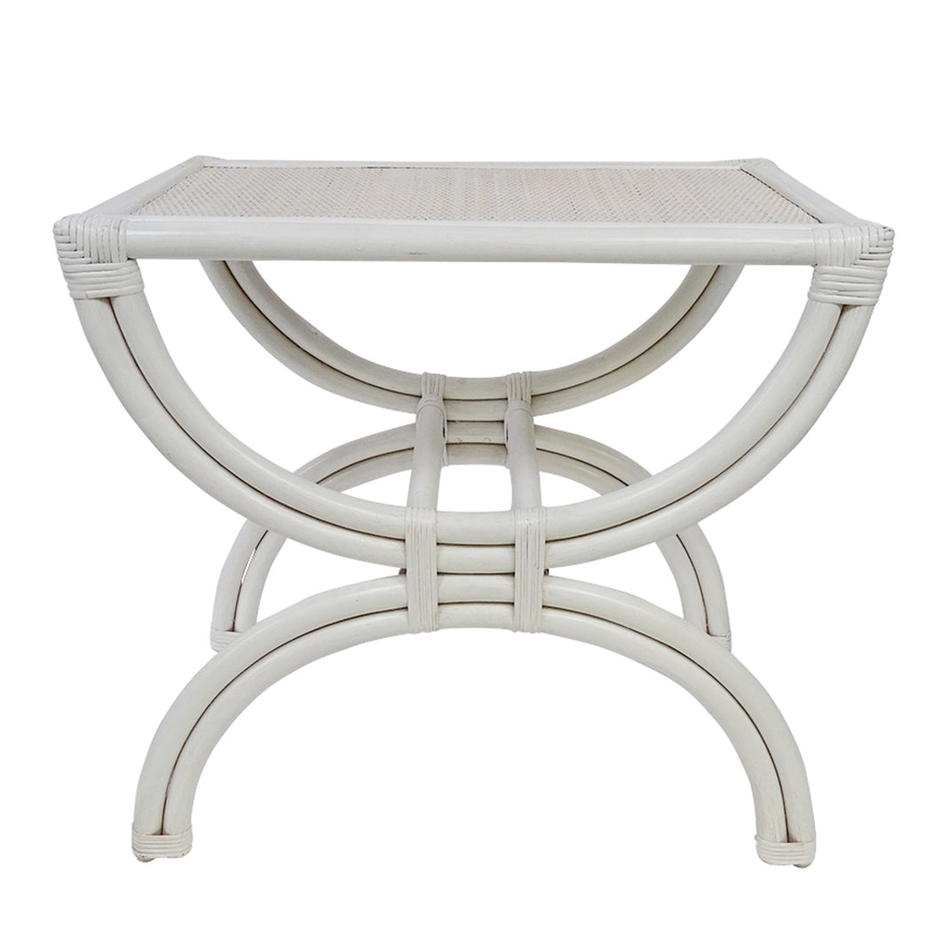 Panama Half Circle Stand Side Table - White