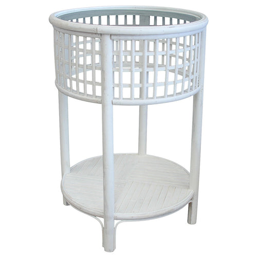 Panama Bamboo Round Side Table - White Furniture nz