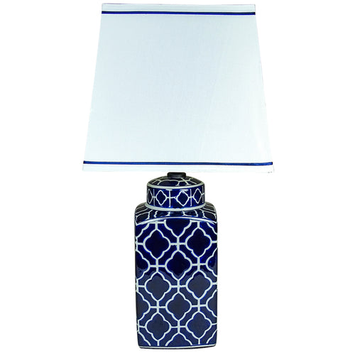 Burton Table Lamp With White Shade 59cm - Blue & White Homewares nz