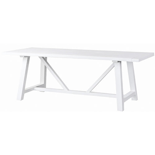 Newport Trestle Dining Table 220x95cm - White  Furniture nz