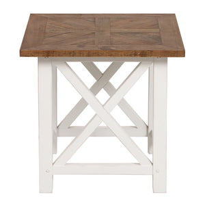 Provincial Side Table With Wood Top - White  Furniture nz