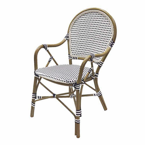 Hamptons Rattan Dining Chair Blue & White furniture nz