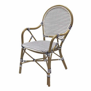 Hamptons Rattan Dining Chair - Blue & White  Furniture nz
