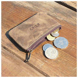 Buffalo Leather Zip Coin Pouch - Brown Homewares nz