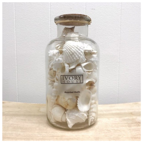 Mixed White Shells In Corked Jar - Large