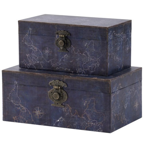 Decorative Navy Atlas Box - Large  Homewares nz