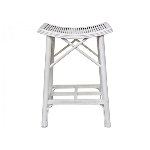 Panama Bamboo Curved Bar Stool - White